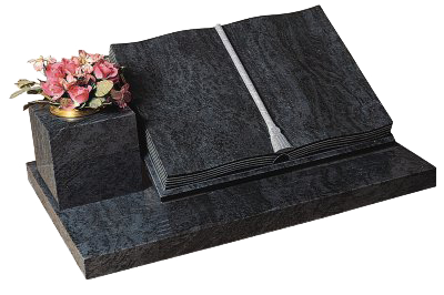 The Epworth Book & Scroll Memorial: A book memorial with fully worked pages with hand worked cord and tassel, side vase in Bahama Blue granite.