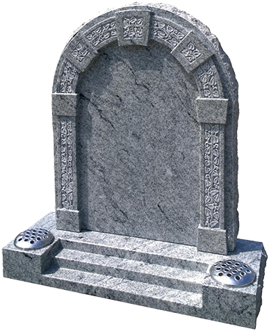 Underwood Kerbset Memorial: Deep carved leaf work adorns the raised columns and archway of this rustic edged headstone, shown in polished M.P. White granite