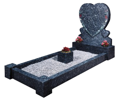 The Wheatley Kerbset Memorial: Distinctive Blue pearl granite from Norway has been shaped by hand to give a triple heart design with coloured floral ornamentation.